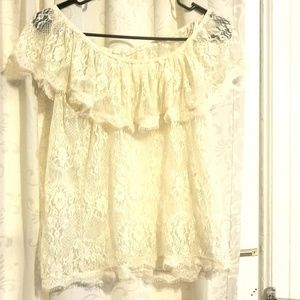 Ivory lace off shoulder see through top